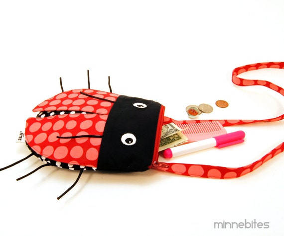 Ladybug Purse by MinneBites / Handmade Cute Toddler Girls Purse - Cross Body Purse - Lady Bug Birthday - Small Pink Purse - Ready to Ship
