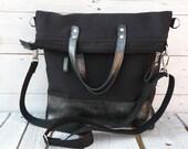 Black Minimalist Messenger Backpack, Leather Tote Bag, Solid Crossbody Bag, Large Laptop Bag, Functional Foldover Bag, Handmade Gift