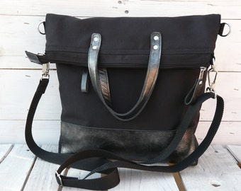 Black Minimalist Messenger Backpack, Leather Tote Bag, Solid Crossbody Bag, Large Laptop Bag, Functional Foldover Bag, Handmade Gift