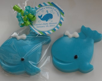 10 WHALE Soap Favors {With Tags & Ribbons} - Nautical / Ocean Birthday or Baby Shower or Wedding.