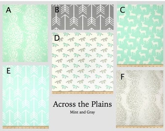 Custom Baby Crib Bedding- Design Your Own Bedding- Dorm Bedding- Duvet Cover- Glider Cushions- Across the Plains-mint and gray