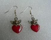 Angel Earrings Valentine's Day Earrings Cherub earrings red heart earrings heart earrings angel heart earrings valentine's day jewelry