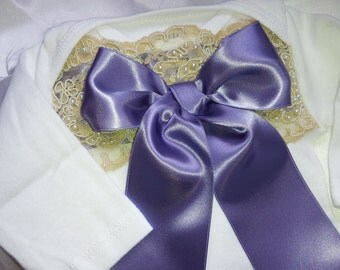 Newborn Girls Purple Plum Lace Baby Girl take me home outfit
