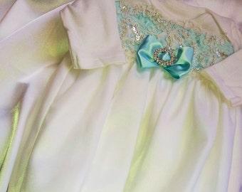 White Lace Layette gown Newborn Girls White Aqua Blue Chiffon Take me Home gown