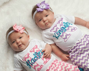 Baby Girl Clothes Twin Girls Take Home Outfit  Chevron Monogram Baby Outfit  Personalized Baby Girl Twins Outfits
