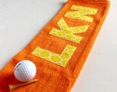 Personalized Orange Golf Towel, Orange Golf Towel