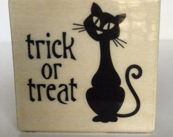 Black Cat Stamp HALLOWEEN Vintage Look kitten shape TRICK or TREAT words Fall Wooden Mounted Rubber kitty Cards craft card Holiday Crafts