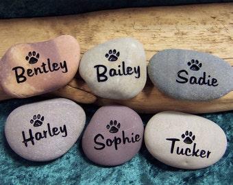 PET MEMORIALS engraved in Natural river stone