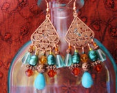 Copper bohemian earrings, Bohemian gypsy hippie long copper chandelier earrings with turquoise, pearl, copper and gold crystal