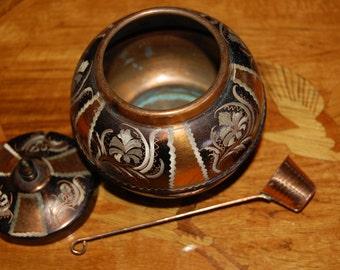 Turkish Copper Hand Etched  Engraved Old World style Erzincanlilar Turkish Copper Vintage Sugar Server  Coffee  Service Vintage Copper