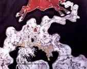 "Red Bull and Unicorn - batik fabric 10"" x 36"" - Custom printed from original art -quilt applique"