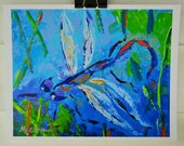 DRAGONFLY ART , Abstract Painting, Giclee Print ,Blue ,Green ,White Whimsical  Fine Art  Print Signed and dated  8 x 10 inches