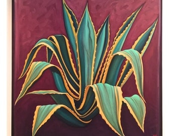 Original oil Agave by Carin Vaughn