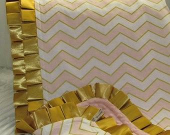 """Sale- Minky baby blanket- 33"""" X 39""""- glitz chevron minky blanket- chevron blanket- coral and gold chevron minky blanke-glitz chevron blanket"""