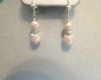 Pink Victorian Style Pearl Earrings, Wedding Jewelry, Silver and Pearl Earrings, Bridesmaid Gift, Easter  Gift