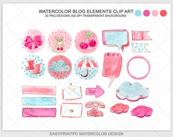 Watercolor Clipart, Watercolor Blog Elements, Blog Elements, Blog Clip Art, Digital Watercolor, Watercolor design, Digital frames, Clip Art