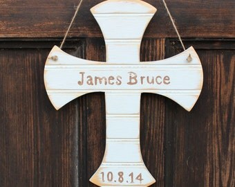 "12"" Wooden Cross for Births, Baptisms, & Christenings, Beaded Board"