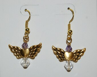 Angel Wing Earrings Czech Crystal Beads Earrings  Antique Gold Finish Purple Earrings