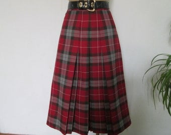 Woolen Skirt / Skirt Vintage / Wool Skirt / Plaid Skirt / Tartan Skirt / Size EUR40 / UK12 / Checkered Skirt