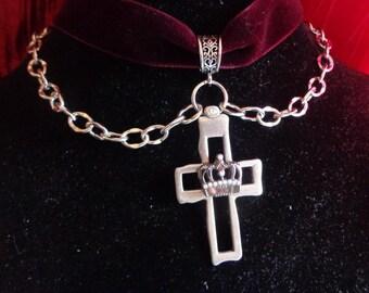 Celtic Crown Cross Burgundy Velvet Choker