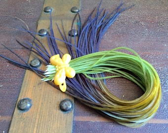 """Tie Dyed Feather Extensions 10-12"""" Long Green Olive, Gold, Deep Purple Bohemian Blended Hair Feather Extensions 5pcs Bird Feathes"""