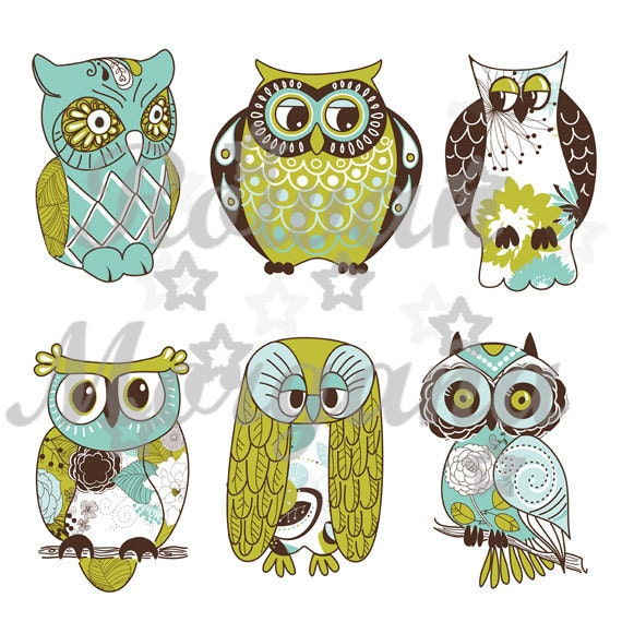 Vintage Owls  Royalty Free Clip Art