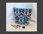 Bridesmaid Gift  Personalized Cosmetic Bag  Black and Cream Damask  Choice of Initial Color Maid of Honor Gift Graduation Gift