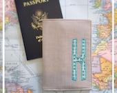Passport Cover , Personalized , Khaki Aqua Wedding , Bridesmaid Maid of Honor Gift , Destination Wedding Party Gift, Travel Wallet Monogram