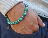 Men's Spiritual Healing and Protection Bracelet with Semi Precious African Malachite, Turquoise, Antique Brass - Good Fortune Man Bracelet