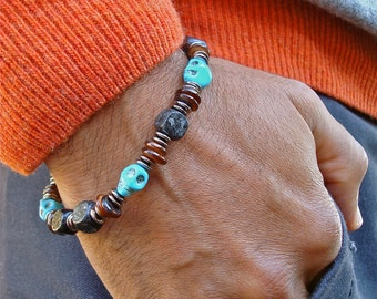 Men's Rocker Bracelet with Carved Turquoise Skulls, Brown Shell, Black Wood Cubes, Gunmetal Rondelles - Steampunk Man Bracelet - Gothic
