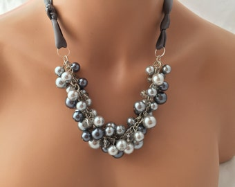 gray pearl chunky necklace with pewter ribbon- bridesmaids jewelry, wedding necklace