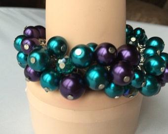 Purple and teal chunky pearl bracelet, Peacock theme wedding, bridesmaid jewelry