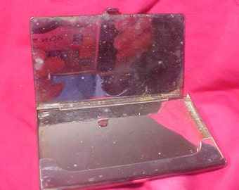 Business Card Holder Vintage 80s  might be Silver Plated includes 4 M. Jackson agent Biz Cards