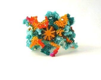 Boho bracelet, Colorful bracelet Gift for women Beaded cuff bracelet Creative jewelry Artistic jewelry, Christmas gift Freeform peyote