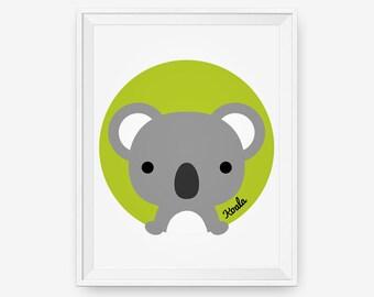 Koala Print, Australian Animal Nursery Wall Art,  Nursery Art, Baby Cute Animal Wall Art, Children Animal Art, Kids Room Decor