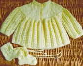 Newborn baby infant girl boy hand knitted pale yellow traditional lace lacy matinee jacket / cardigan and booties pram set