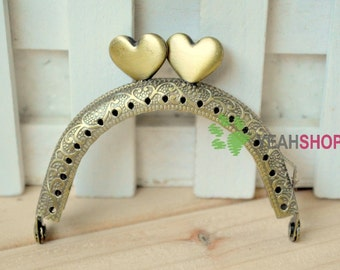 Half Round Embossed Heart Mini Purse Frame - 7.5cm / 2.9 inch (MPF-14) - Choose One Color