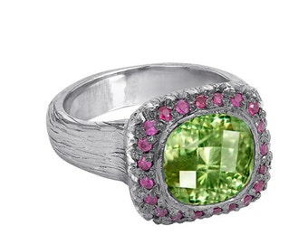 Sterling Silver Peridot cocktail engagement ring with pink sapphires hand made