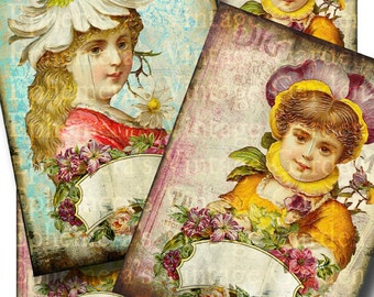 Vintage Flower Girls - Large Printable Journaling Cards
