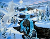 Horse art print limited edition, Native american art ,horses, waterfall , Love Couples spirit print, gift idea, Eli Thomas Art, totem animal