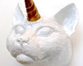 Cat Unicorn Wall Mount - Cat Wall Art - Cat Decor - Cat Unicorn Wall Decor- Gold Cat Art