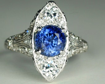 Edwardian Platinum, Diamond and Natural No-Heat Sapphire Ring