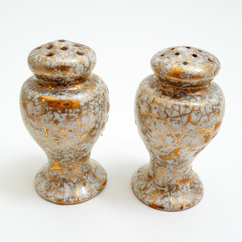 Vintage Gilded Gold Porcelain Salt And Pepper Shakers