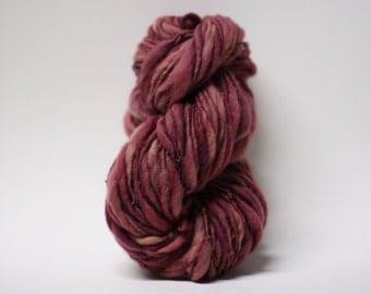Yarn Handspun Wool Thick and Thin Slub  Hand Dyed tts(tm) Merino Bulky Almandine 04