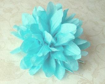 Aqua Blue Flower Hair Pin or Hair Clip - Teal Wedding Hair Accessory