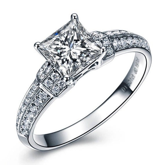 princess cut forever brilliant moissanite engagement by