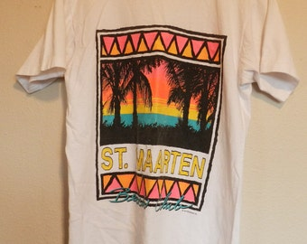 vintage St. Maarten Beach Club T Shirt 80s soft tee colorful NEON palm trees islands M/L retro tourist
