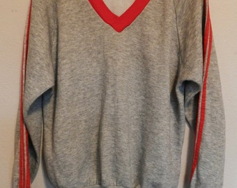 vintage 70s heather gray Sweatshirt V-Neck jersey tre foil soft Sportswear Mens Large Acrylic sleeve stripes