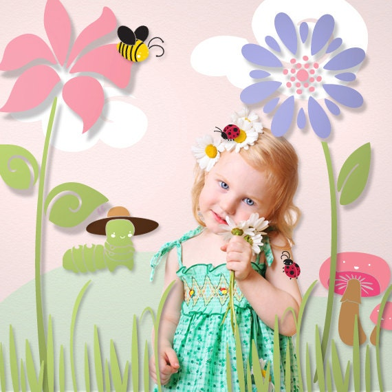 Flower and Bug Wall Stencils for Girls Room Baby Nursery (stl1005)