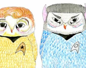 Childrens Decor, Nursery Decor, Kids Art,  Star Trekking Owl Print - Limited Edition 8x10 Print by Jennie Deane